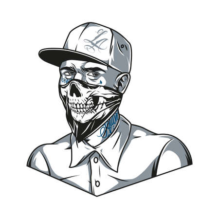 Vintage concept of man with chicano tattoos in baseball cap shirt and bandana with skull image on his face isolated vector illustration