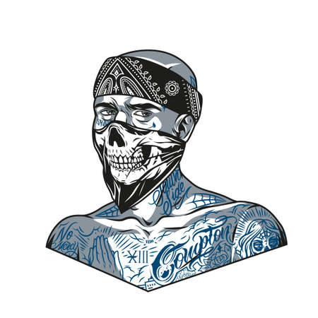 Gangster man with chicano tattoos wearing bandana and scary mask in vintage monochrome style isolated vector illustration