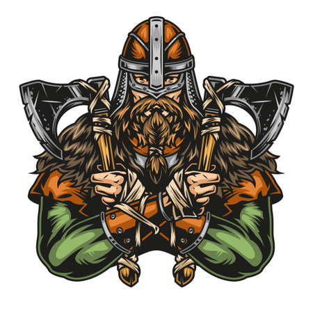 Vintage colorful concept of viking warrior in helmet holding axes in two hands isolated vector illustration Illustration