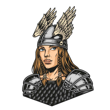 Colorful concept of pretty viking woman in metal armor and helmet with wings in vintage style isolated vector illustration Illustration