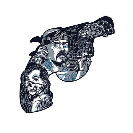 Chicano tattoo vintage template in shape of gun with girl in scary mask latino gangster holding cigaro grenade roses dice brass knuckles diamond isolated vector illustration Illustration