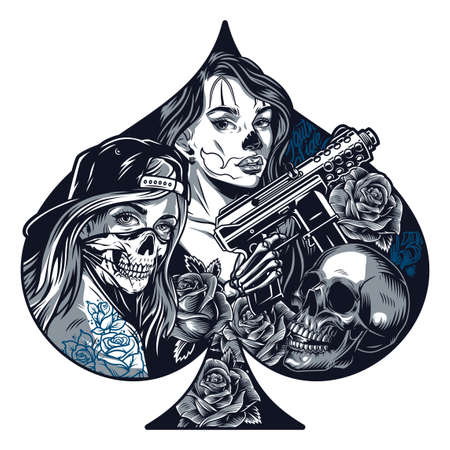 Chicano tattoo monochrome concept in shape of playing card spades with pretty girls skull roses skeleton hand holding automatic gun in vintage style isolated vector illustration