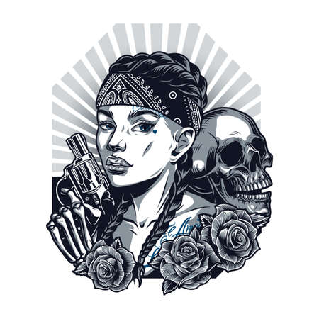 Chicano tattoo vintage template with pretty girl in bandana skull skeleton hand holding revolver and roses in monochrome style isolated vector illustration Illustration