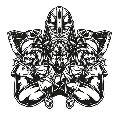 Strong viking warrior in helmet with axes in two hands in vintage monochrome style isolated vector illustration