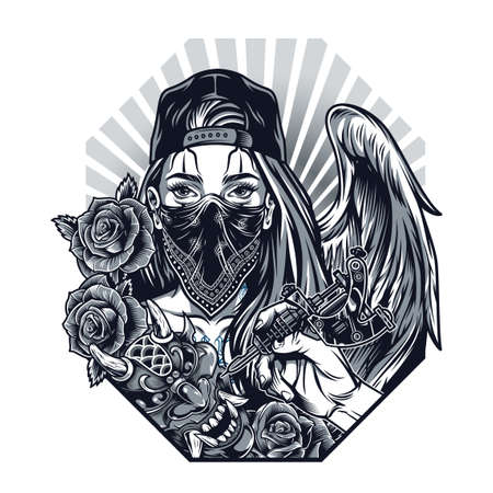 Vintage monochrome chicano tattoo concept with hand holding tattoo machine demon mask roses girl with angel wing in baseball cap and bandana on face isolated vector illustration Illustration