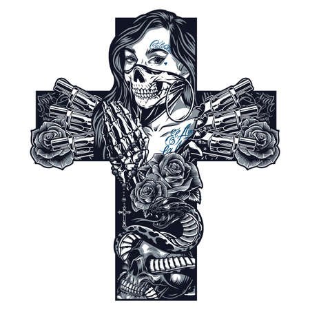 Vintage monochrome chicano tattoo concept in cross shape with girl in scary mask skeleton hands holding rosary revolvers snake entwined with skull roses isolated vector illustration Illustration