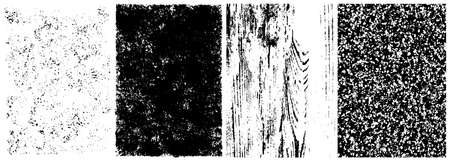 Abstract grungy textures collection with grained wooden distressed effects in black and white colors vector illustration
