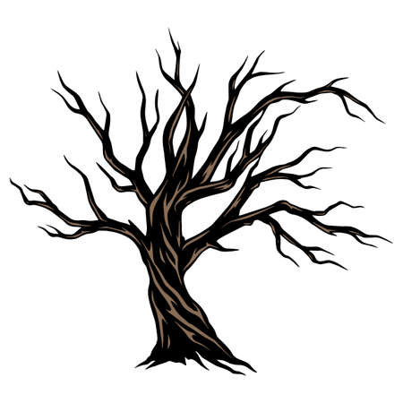 Dry scary tree template in vintage style isolated vector illustration