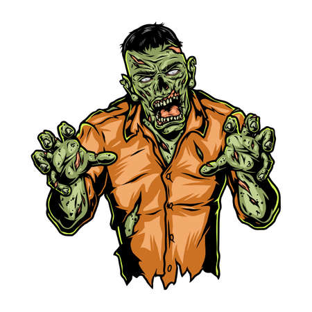 Walking spooky zombie colorful vintage template on white background isolated vector illustration