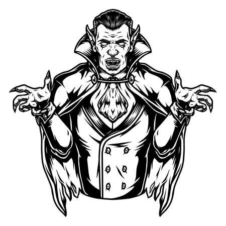 Scary vampire character vintage concept in monochrome style isolated vector illustration