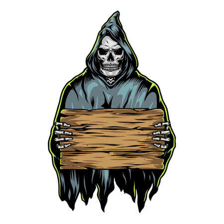 Grim reaper holding blank wooden board in vintage style isolated vector illustration
