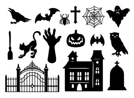 Halloween elements vintage black set with haunted house gravestone broom zombie hand spider cat bat cross owl crow ghost scary pumpkin isolated vector illustration