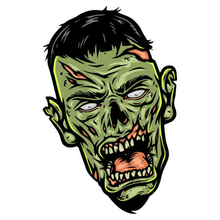 Creepy green zombie head template in vintage style isolated vector illustration