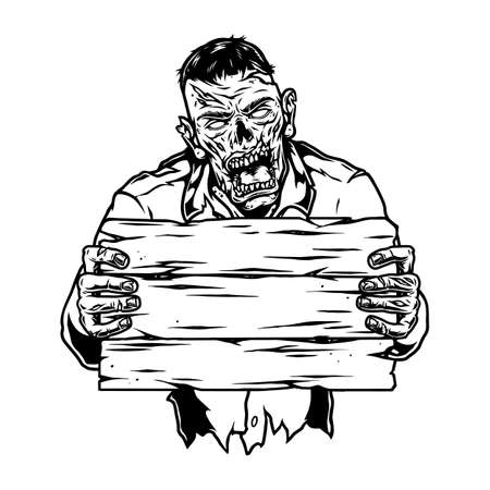 Creepy zombie with blank wooden plank in vintage monochrome style isolated vector illustration
