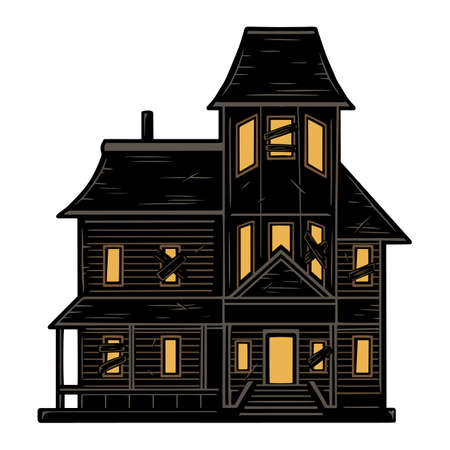 Scary haunted house concept in vintage style on white background isolated vector illustration