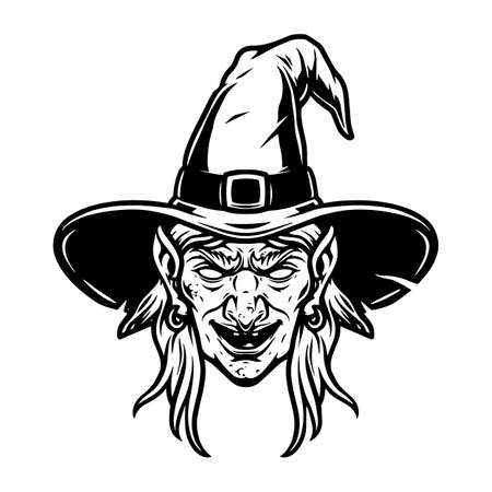 Spooky witch head in hat concept in vintage monochrome style isolated vector illustration