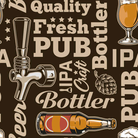 Vintage brewery seamless pattern with colorful beer glass bottle tap and inscriptions vector illustration