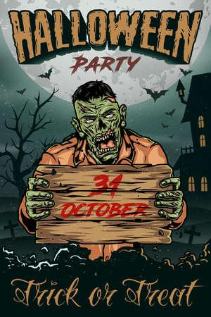 Halloween vintage colorful poster with spooky zombie holding wooden board vector illustration Ilustração