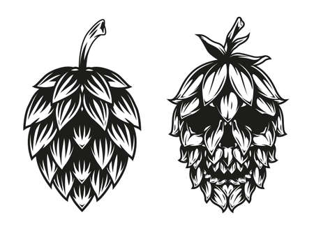 Vintage monochrome beer concept with hop cone and cone in shape of skull isolated vector illustration Vetores