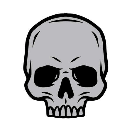 Vintage tattoo concept of human skull without jaw isolated vector illustration