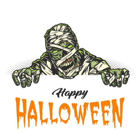 Happy Halloween vintage concept with creepy mummy on halftone background isolated vector illustration