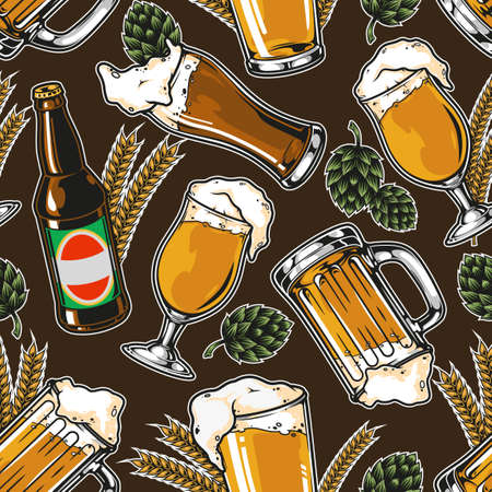 Vintage brewing seamless pattern with beer bottle glasses mugs wheat ears and hop cones vector illustration