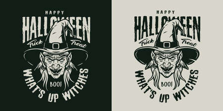 Halloween vintage monochrome emblem with inscriptions and witch head in hat isolated vector illustration