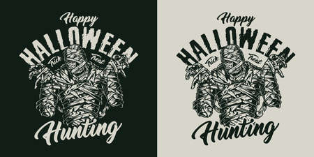Halloween vintage creepy badge with mummy and inscriptions on dark and light backgrounds isolated vector illustration 向量圖像