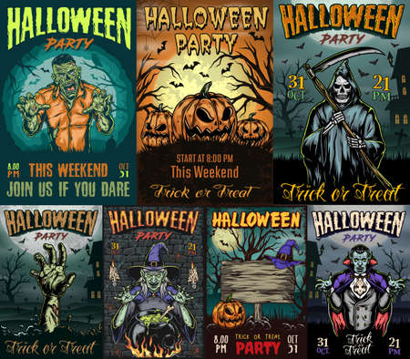 Halloween party posters collection with spooky zombie hand vampire witch near cauldron grim reaper holding scythe pumpkins with carved scary faces vector illustration