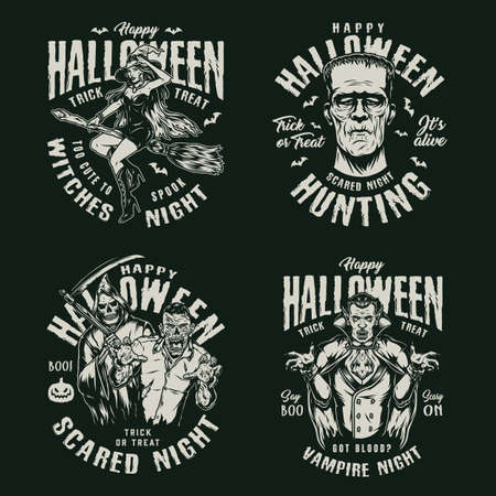 Happy Halloween vintage labels with letterings frankenstein head beautiful witch flying on broom grim reaper zombie vampire isolated vector illustration Vetores