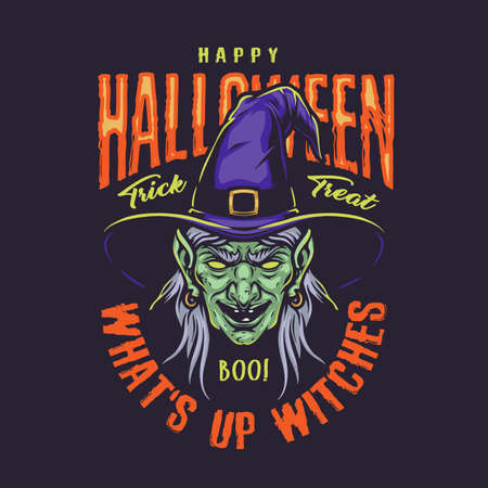 Halloween vintage colorful badge with scary witch head in purple hat isolated vector illustration