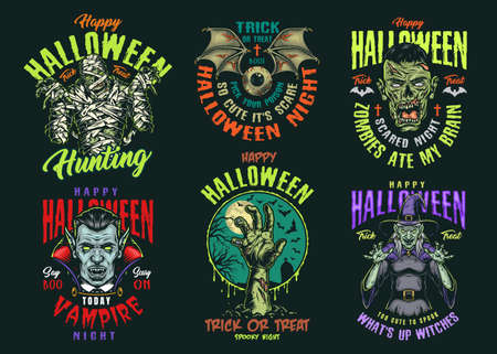 Halloween vintage colorful logos with scary mummy witch vampire and corpse heads zombie hand human eye with bat wings isolated vector illustration