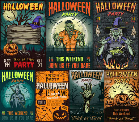 Halloween vintage colorful posters with scary zombie witch and cauldron grim reaper with scythe corpse hand spooky pumpkins cobweb dry trees vector illustration