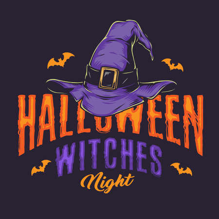 Halloween night vintage emblem with witch hat and flying bats isolated vector illustration