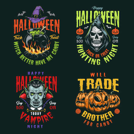 Halloween night vintage colorful badges with witch hat and cauldron of magic potion grim reaper and vampire heads scary pumpkins isolated vector illustration