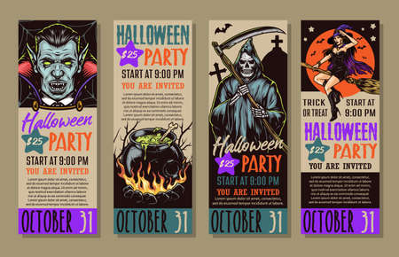 Vintage Halloween party vertical banners with text vampire grim reaper holding scythe witch flying on broom cauldron of magic potion vector illustration