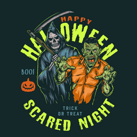 Vintage Halloween night colorful badge with zombie and grim reaper in hood holding scythe isolated vector illustration