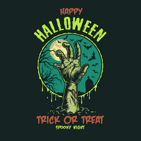 Halloween vintage colorful label with inscriptions zombie hand flying bats gravestone dry tree and moon isolated vector illustration 矢量图像
