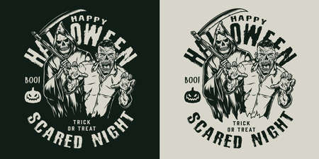 Monochrome Halloween emblem in vintage style with scary zombie and grim reaper isolated vector illustration