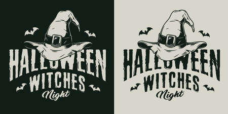 Halloween vintage badge with witch hat and flying bats on dark and light backgrounds isolated vector illustration