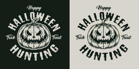 Vintage Halloween label with scary pumpkin in monochrome style isolated vector illustration 矢量图像