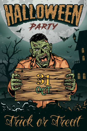 Halloween vintage colorful poster with spooky zombie holding wooden board vector illustration 矢量图像