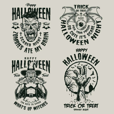 Halloween vintage logotypes with human eye with bat wings scary zombie hand and head spooky witch in monochrome style isolated vector illustration