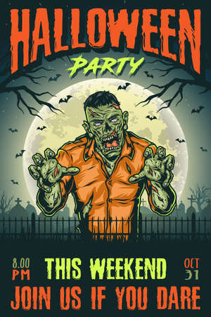 Halloween party vintage poster with creepy zombie on night cemetery background vector illustration 矢量图像
