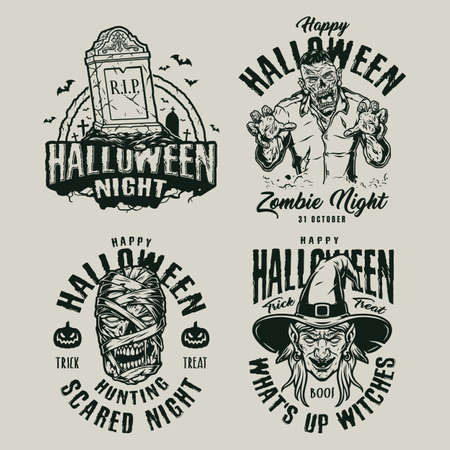 Halloween vintage monochrome emblems with inscriptions tomb spooky zombie mummy and witch heads isolated vector illustration