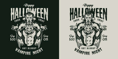 Halloween vintage monochrome label with letterings and vampire isolated vector illustration 矢量图像