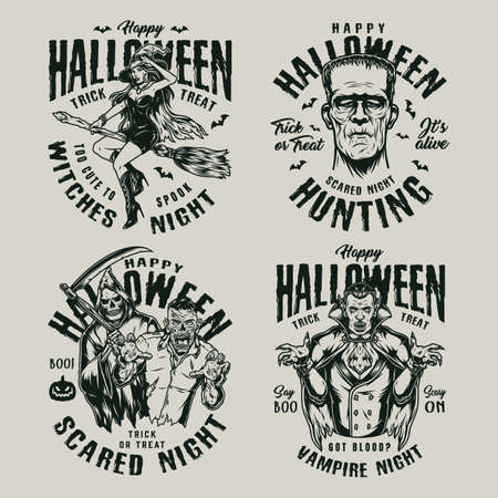 Halloween vintage monochrome badges with inscriptions pretty witch flying on broom and various monsters on light background isolated vector illustration 矢量图像