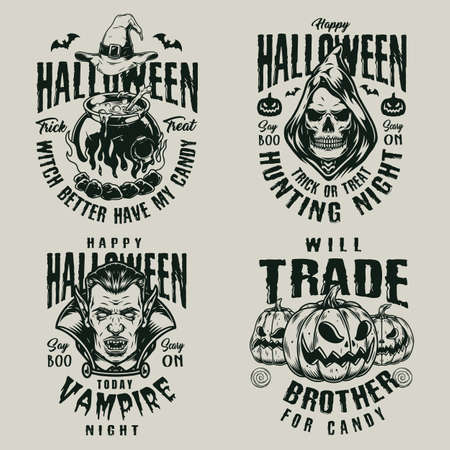 Halloween vintage scary labels with pumpkins vampire and grim reaper heads witch cauldron and hat isolated vector illustration 矢量图像