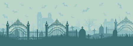 Halloween horizontal template of graveyard with tombstones flying bats haunted houses dry trees in vintage style vector illustration