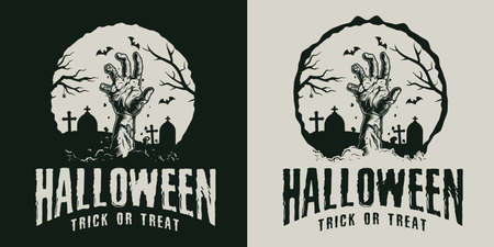 Monochrome vintage Halloween label with zombie hand out of ground on cemetery isolated vector illustration